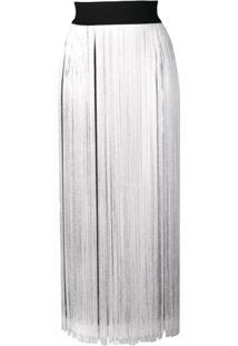 Smarteez Vestido Midi Com Franjas - Branco