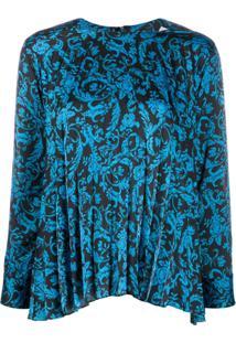 Sandro Paris Pleated Patterned Blouse - Azul