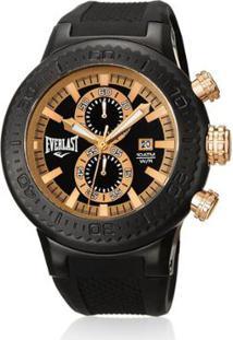28f24c74802 ... Relógio Pulso Everlast Cronógrafo Pulseira Silicone E585 -  Masculino-Preto