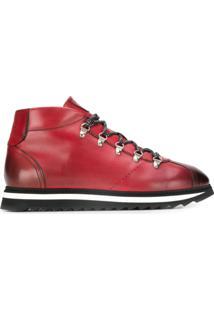 Doucal'S Ankle Boot Com Cadarço - Vermelho