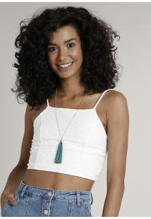 Top Cropped Feminino Em Laise Halter Neck Off White