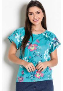 Blusa Floral Azul Moda Evangélica