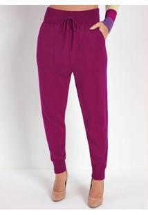 Calça Jogger Púrpura Em Tricô Com Bolsos