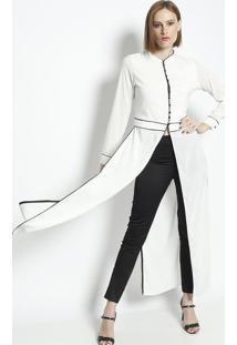 Camisa Alongada Com Fendas - Off White & Preta - Linlinho Fino