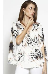 Blusa Animal Print Com Recortes Sobrepostos- Off White &Nem