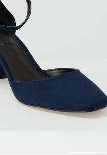 Scarpin Amaro Dorsay Bico Quadrado Azul Marinho - Azul - Feminino - Dafiti