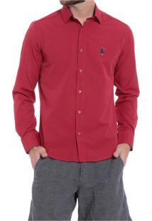 Camisa Club Polo Collection Slim Fit Vermelho