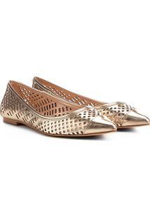 Sapatilha Shoestock Lasercut Feminina - Feminino-Dourado