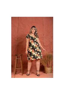 Vestido Basico Viscolycra Floral Black Plus Size Domenica Solazzo Vestidos Curtos Preto