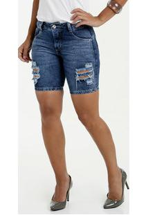 Bermuda Feminina Jeans Destroyed Biotipo