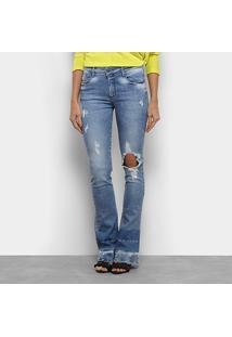 Calça Jeans Flare Forum Rasgos Cintura Alta Feminina - Feminino