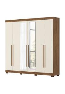 Guarda Roupa De Casal Belem 6 Portas C/ Espelhos Canela/Off White Albatroz
