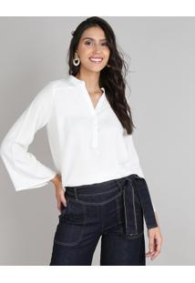 Camisa Feminina Ampla Manga Sino Off White