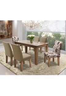 Conjunto Mesa C/ 6 Cadeiras - Siena - Dobuê - Castanho / Nude / Castor / Castor Floral
