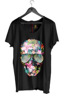 Camiseta Estonada Corte À Fio Joss Caveira Flores Coloridas Masculina - Masculino