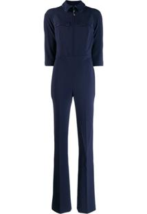 Elisabetta Franchi Fitted 3/4 Sleeves Jumpsuit - Azul