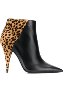 Saint Laurent Ankle Boot Kiki Com Salto 100Mm - Preto