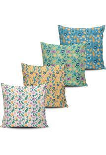 Kit 4 Capas Almofadas Decorativas Flores Do Campo 45X45Cm - Multicolorido - Dafiti