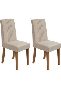 Conjunto De Cadeiras De Jantar 2 Rock Veludo Rovere E Creme