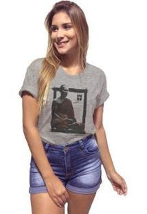Camiseta Joss Mescla Premium Buda Meditação Feminina - Feminino-Cinza