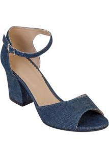 Sandália De Salto Quadrado Jeans