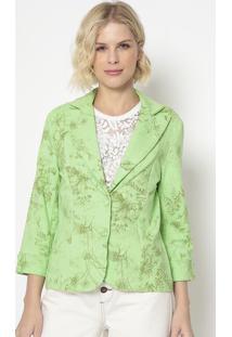 Blazer Floral Com Recortes- Verde & Verde Escuro- Cocotton Colors Extra