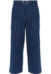 Calça Pantacourt Jeans Listras Migliera