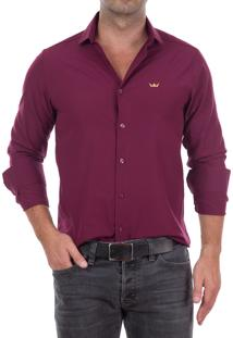 Camisa Club Polo Collection Crown Nyc Vinho