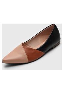 Sapatilha Dafiti Shoes Recortes Preta/Rosa