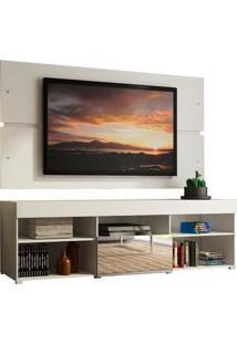 Rack Com Painel Para Tv Atã© 65 Polegadas Madesa Dublin 1 Porta Com Espelho - Branco Branco - Branco - Dafiti