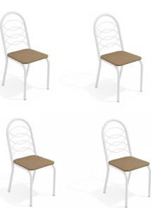 Conjunto Com 4 Cadeiras De Cozinha Holanda Branco E Capuccino