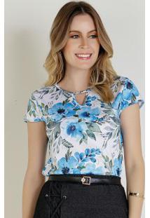Blusa Com Recorte Floral Azul Moda Evangélica