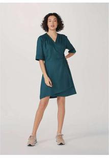 Vestido Midi Envelope Sarjado Verde