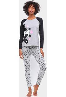 Pijama Three Hands Panda Longo Feminino - Feminino-Cinza