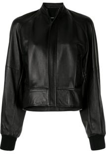 Bassike Cropped Leather Bomber Jacket - Preto
