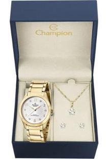 Kit Relógio Champion Elegance Feminino Cn29230D Com Colar E Brincos - Feminino-Dourado