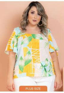 Blusa Viscose Ivy Folhas Amarelo Plus Size