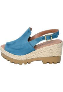 Sandália Lelive Calçados Anabela Tratorada Azul Claro