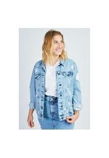 Jaqueta Jeans Blue Claro Com Rasgos Gang Feminina
