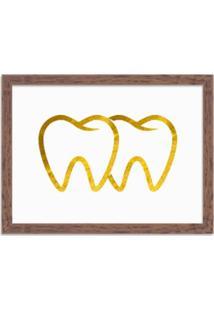 Quadro Decorativo Em Relevo Espelhado Dente Dourado Madeira - Médio