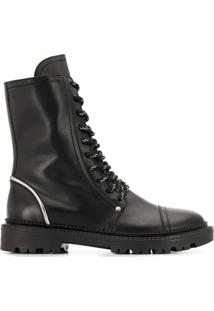Casadei Combat Lace-Up Ankle Boots - Preto