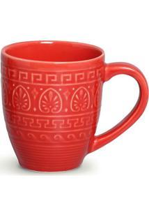 Caneca Greek Cerâmica 330 Ml Vermelho Porto Brasil