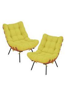 Kit 02 Poltronas Decorativas Sala De Estar Costela Suede Amarelo - Lyam Decor