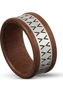 Anel Wooden Design Víbora - Madeira E Prata