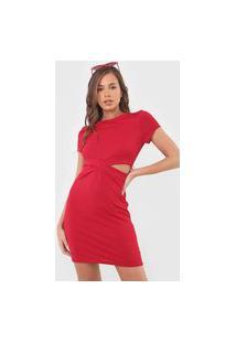 Vestido Fiveblu Curto Recortes Vermelho