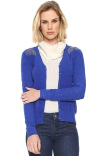 Cardigan Facinelli By Mooncity Tricot Strass Azul