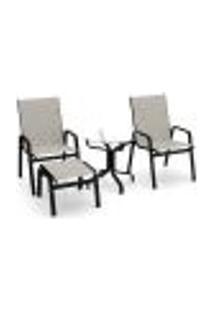 Conjunto 2 Cadeiras Mesa Riviera Alumínio Preto Tela Crepe