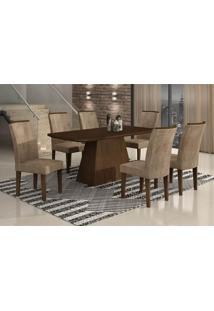 Conjunto De Mesa Lunara Iii Com Vidro E 6 Cadeiras Animalle Castor E Chocolate