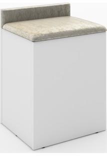 Puff Baú Tecno Mobili Com Encosto-Branco Com Estampa Vintage Bege - Multistock