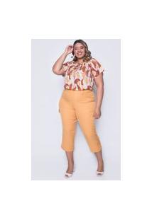 Calça Almaria Plus Size Melonica Pantacourt Lisa Amarelo